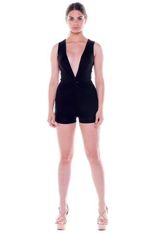 (ale) Knotted on front plunging black romper
