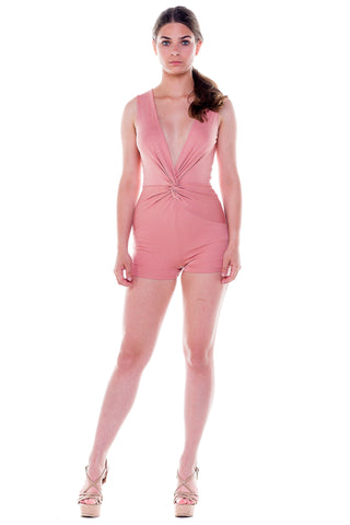 (ale) Knotted on front plunging blush romper