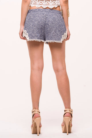 (alo) Crochet insert french terry blue shorts