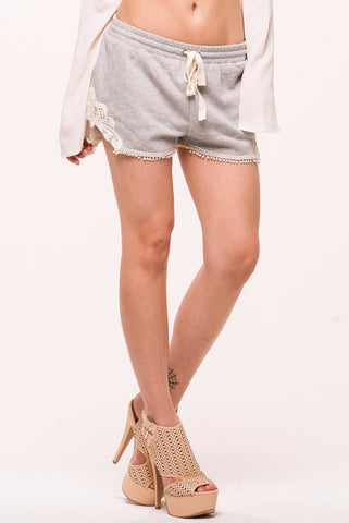 (alo) Crochet insert french terry grey shorts