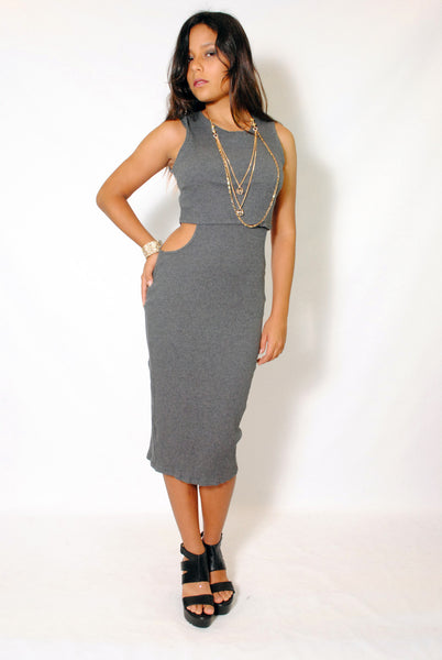 (ama) Cut out on side round neck ribbed gray midi dress - L.A. Roxx - 1