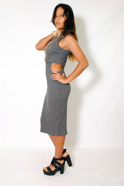 (ama) Cut out on side round neck ribbed gray midi dress - L.A. Roxx - 2