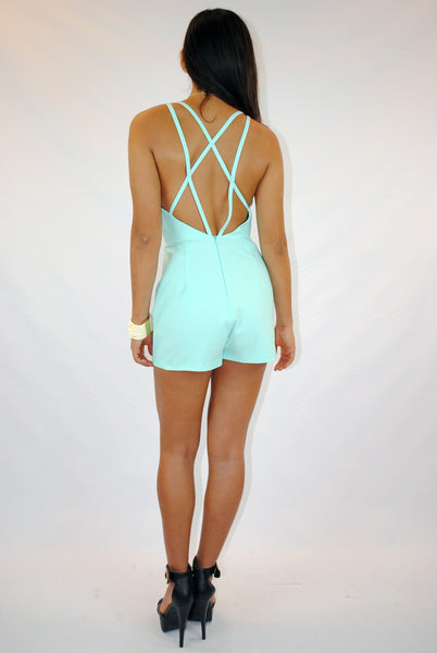 (amm) Cage open back mint romper