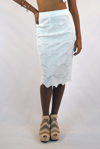 (aml) Lace illusion white stiletto skirt