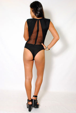 (ama) Micro net mesh cut out black bodysuit