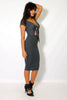 (alz) Knotted on front ribbed cap sleeves midi charcoal dress - L.A. Roxx - 3