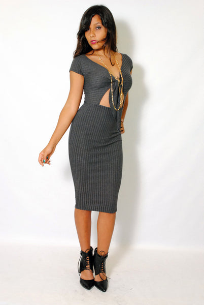 (alz) Knotted on front ribbed cap sleeves midi charcoal dress - L.A. Roxx - 1
