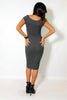 (alz) Knotted on front ribbed cap sleeves midi charcoal dress - L.A. Roxx - 2