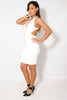 (amb) Low back crossed straps plunging white dress - L.A. Roxx - 3