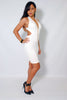 (amb) Low back crossed straps plunging white dress - L.A. Roxx - 2