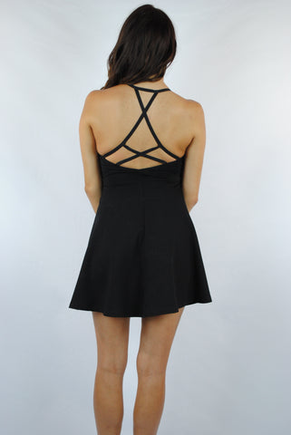 (anh) Sweetheart strappy back skater dress