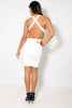 (amb) Low back crossed straps plunging white dress - L.A. Roxx - 1