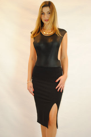 (amz) Side less shine black bodycon bodysuit