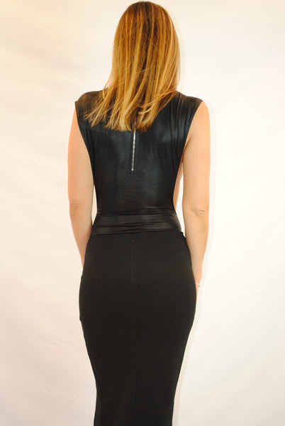 (amz) Side less shine black bodycon bodysuit - L.A. Roxx - 4