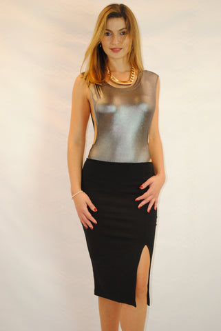 (amz) Side less shine silver bodycon bodysuit
