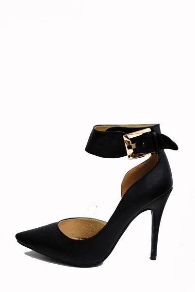 (aml) Ankle buckle point black pumps - L.A. Roxx - 1