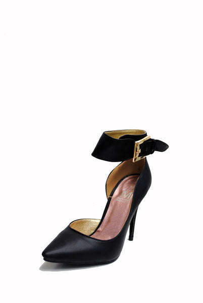 (aml) Ankle buckle point black pumps - L.A. Roxx - 2