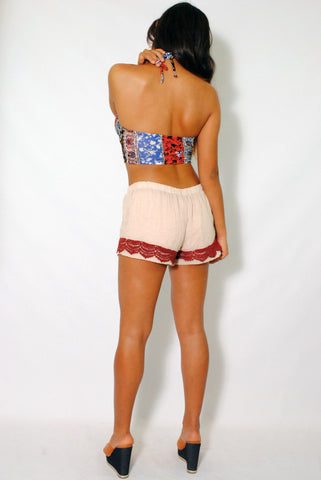 (amh) Wrinkled vintage crochet trimming shorts