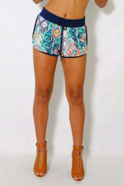 (amg) Geometric multi color print blue shorts - L.A. Roxx - 1