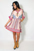 (alz) Kimono sleeves boho chic flare dress - L.A. Roxx - 1