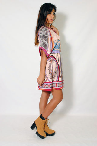 (alz) Kimono sleeves boho chic flare dress