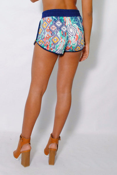 (amg) Geometric multi color print blue shorts - L.A. Roxx - 2