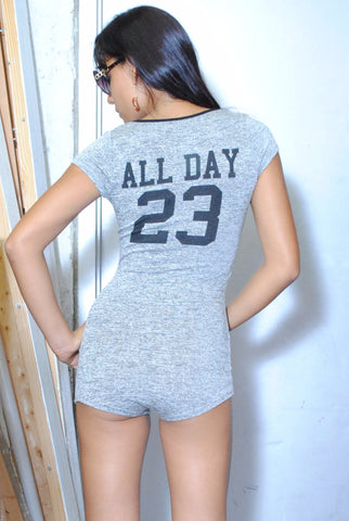 All day 23 jersey grey romper