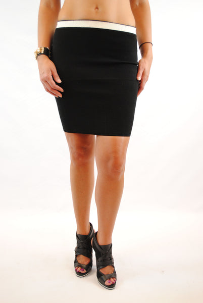 (amq) Contrast knit high waist black skirt - L.A. Roxx - 1