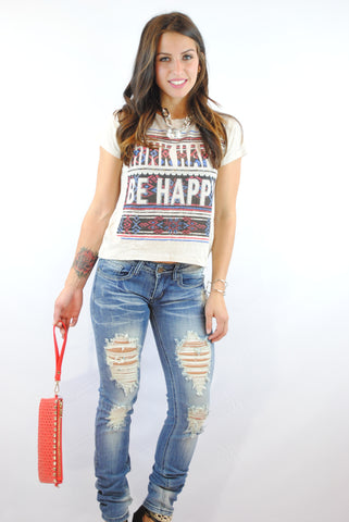 (ank) Think happy, be happy crop boxy tee