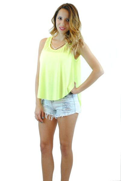 (anq) High low airy neon lime tank - L.A. Roxx - 1