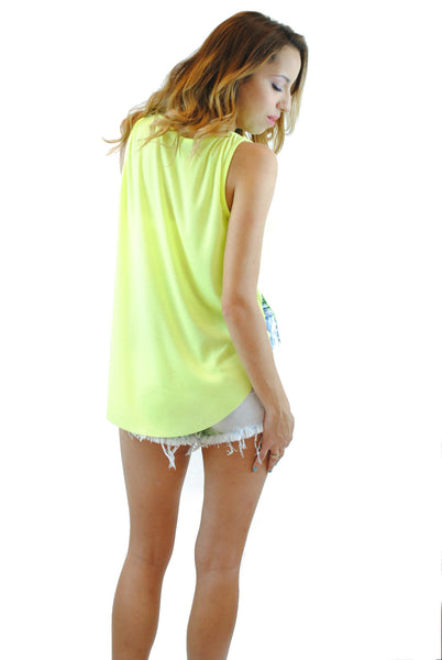 (anq) High low airy neon lime tank - L.A. Roxx - 2