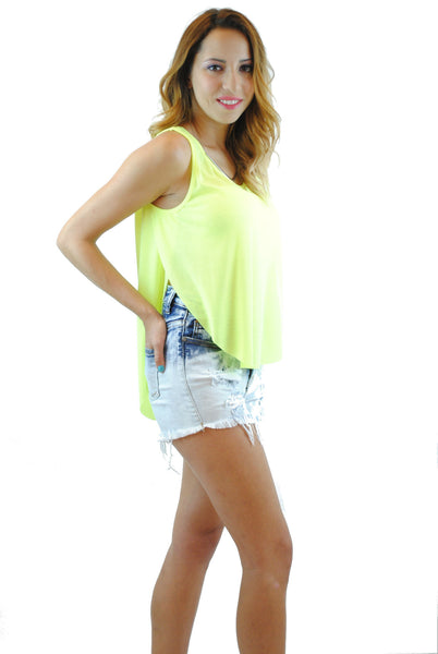 (anq) High low airy neon lime tank - L.A. Roxx - 4