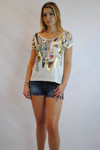 (ams) Gold foil detail feline face graphic tee