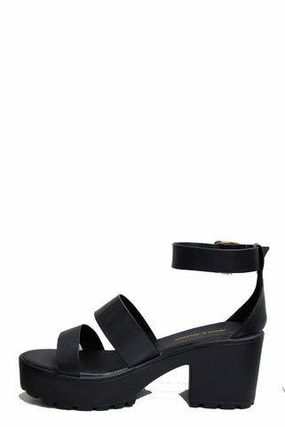 (ame) Double straps black chunky sandals