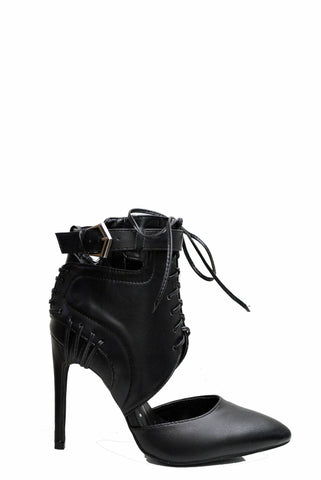(ame) Laced up moto pumps