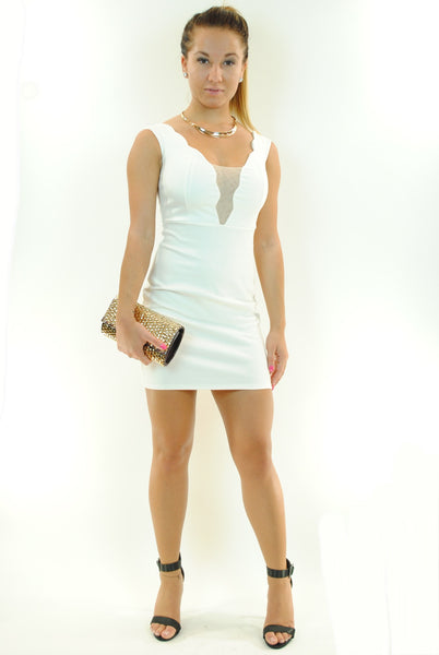 (ant) Wave plunge mesh ivory dress - L.A. Roxx - 2