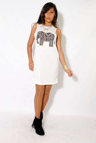 (alx) Tribal elephant print ribbed white dress