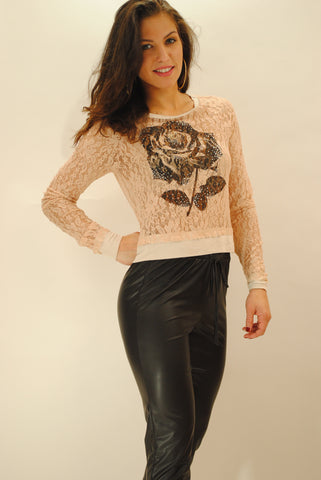 (anv) Black rose lace sweater