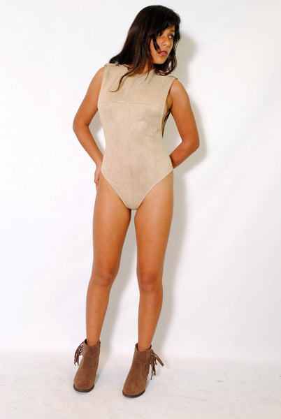 (alx) Side less authority beige bodysuit - L.A. Roxx - 4
