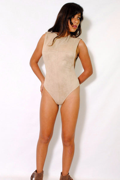 (alx) Side less authority beige bodysuit - L.A. Roxx - 1