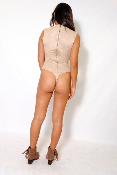 (alx) Side less authority beige bodysuit - L.A. Roxx - 3
