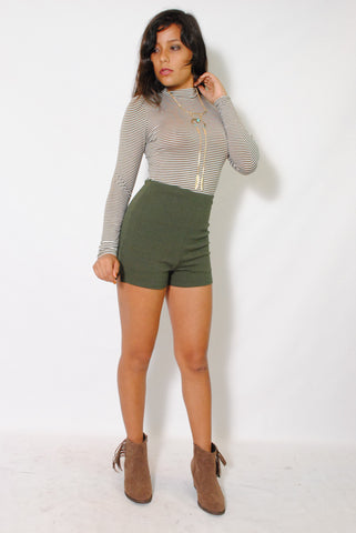 (alw) High waist solid olive green shorts