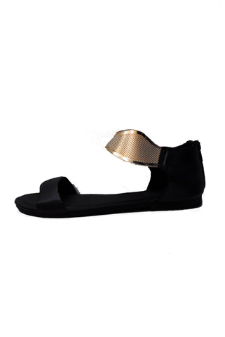 (alx) Sunset gold collar black sandals