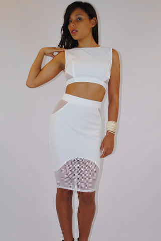 (amd) Net on side round neck crop white top