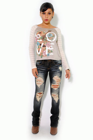 (alu) Flowers and classic guitar graphic long sleeves tee