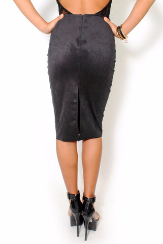 (alu) Suede stiletto black skirt