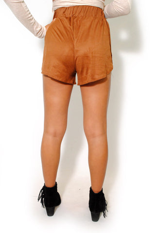 (alw) Open sides vegan suede brown shorts