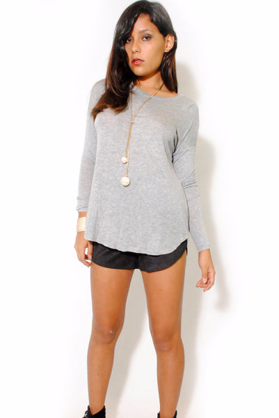(alw) Twisted on back jersey gray blouse - L.A. Roxx - 1