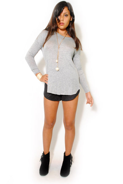 (alw) Twisted on back jersey gray blouse - L.A. Roxx - 2