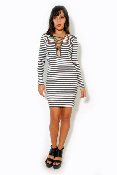 (alt) Striped plunging laced up baby rib gray dress